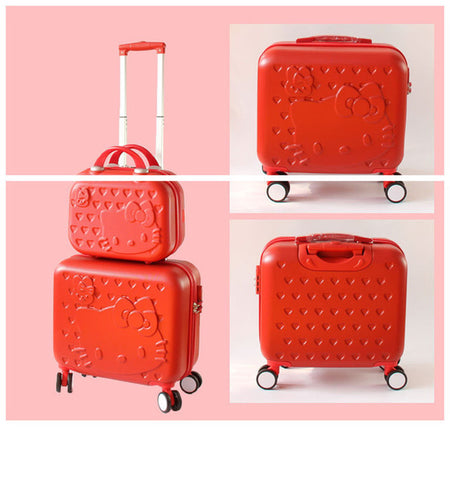 Women Carry-On KT Luggage Set/Girls Hello Kitty Travel Suitcase+Cosmetic Bag 2Pcs/Set/14'' 17'' ABS
