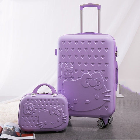 Women Large Capacity Luggage Set/Girls Hello Kitty Travel Suitcase+Cosmetic Case 2Pcs/Set/14'' 20''