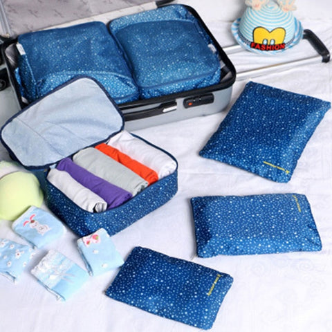 Yesello 6 Pcs/ set High Quality Oxford Mesh Cloth Travel Bag Organizer Luggage Packing Cube