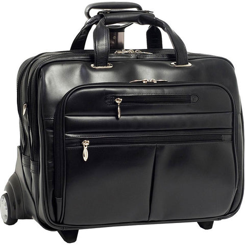 McKlein R Series Ohare Leather FlyThrough 17in Wheeled Laptop Case
