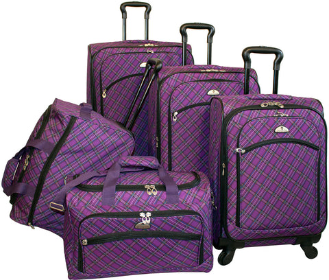 American Flyer Plaid 5 Piece Luggage Set