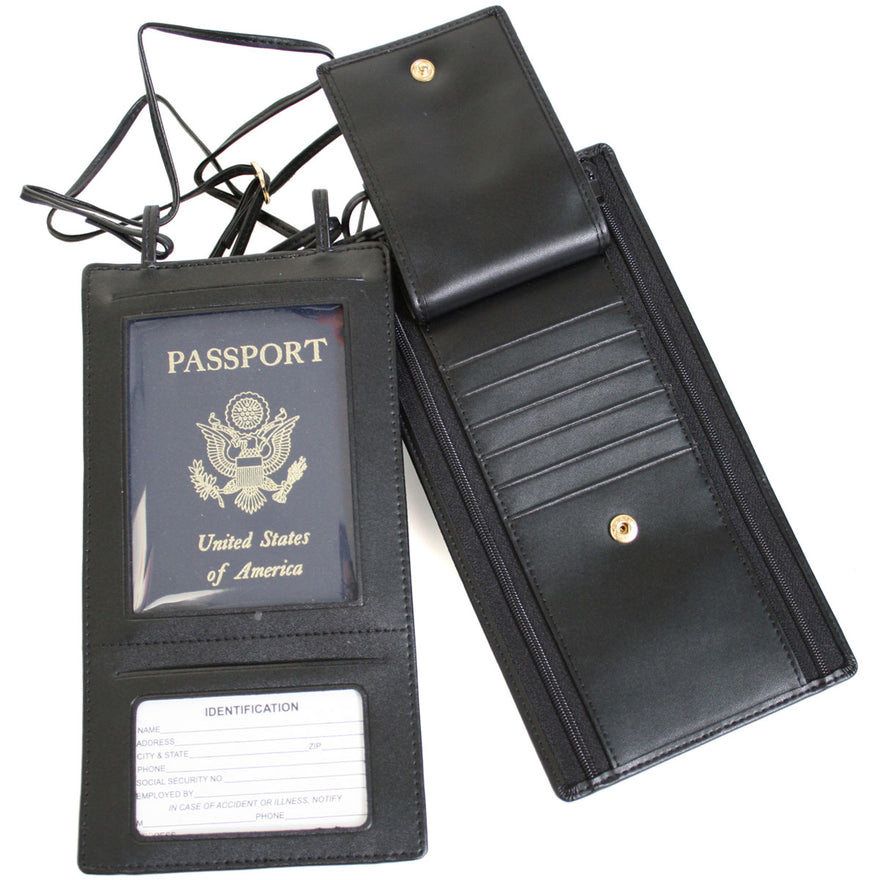 Royce Leather Hanging Passport Travel Document Wallet