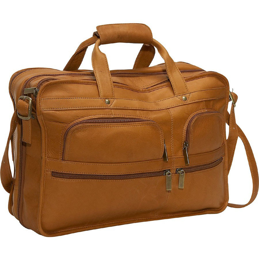 David King Multi-Pocket Expandable Leather Laptop Bag