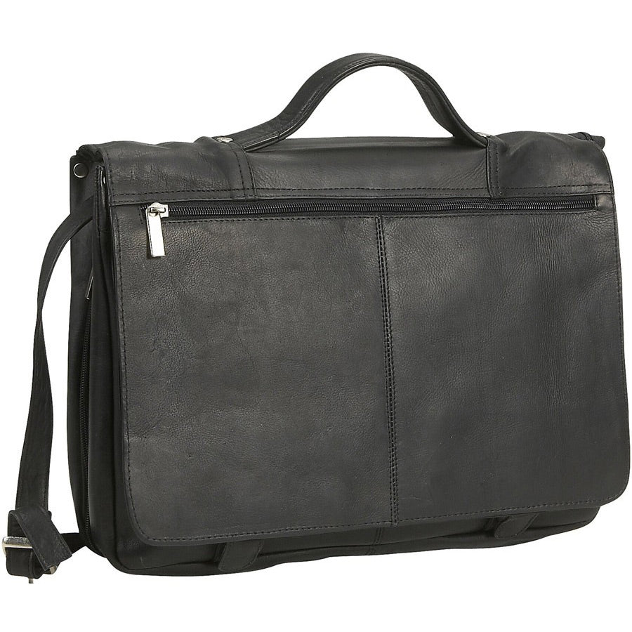 David King Expandable Leather Briefcase