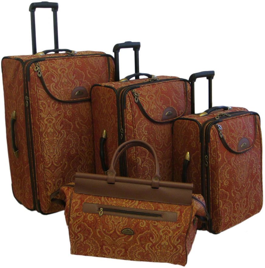 American Flyer Paisely Gold 4 Piece Luggage Set