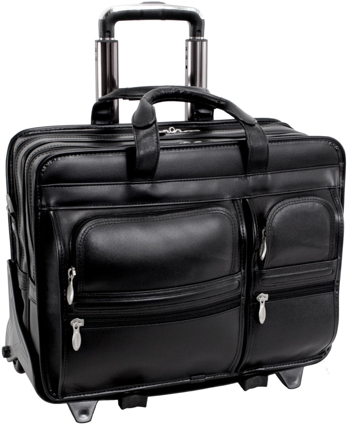 McKlein P Series Clinton Leather 17in Wheeled Laptop Case