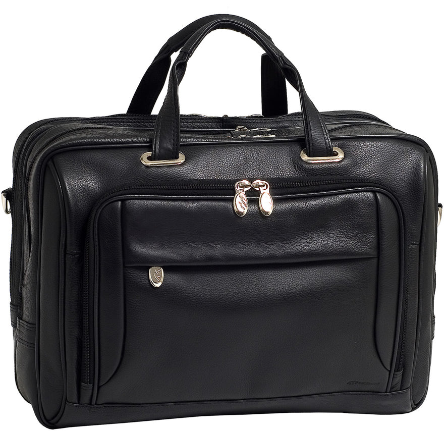 McKlein i Series West Loop Leather Expandable Double Compartment Briefcase