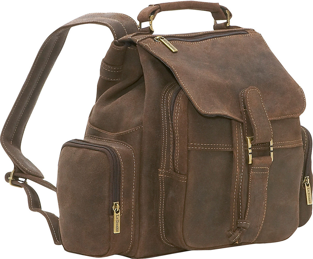 LeDonne Leather Distressed Leather Multi Pocket Backpack