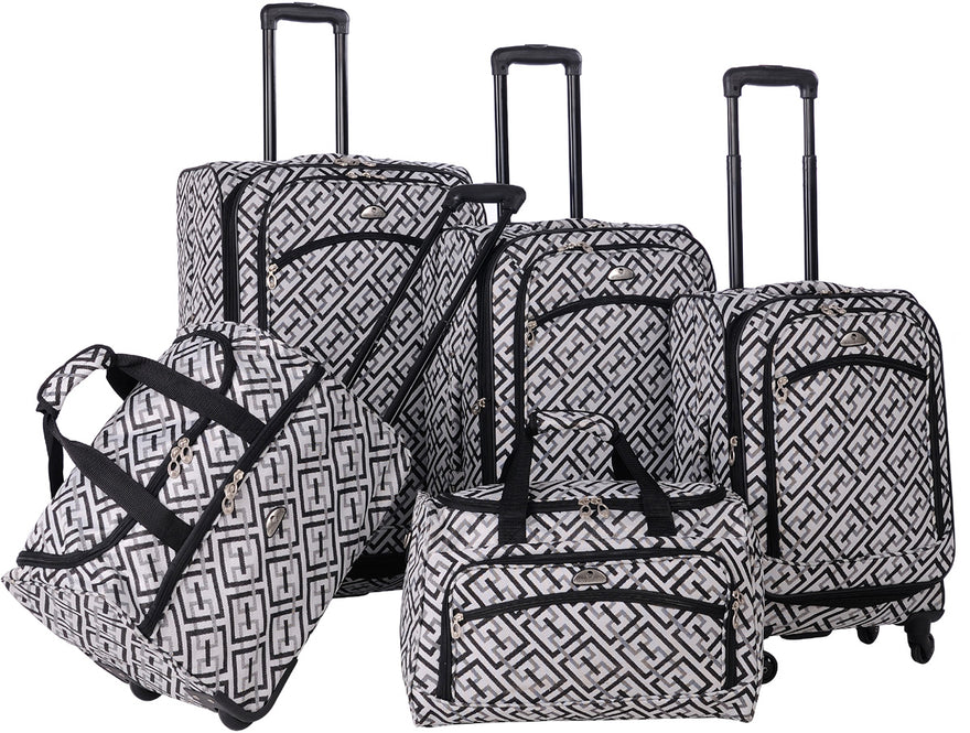 American Flyer Brick Wall 5 Piece Luggage Set
