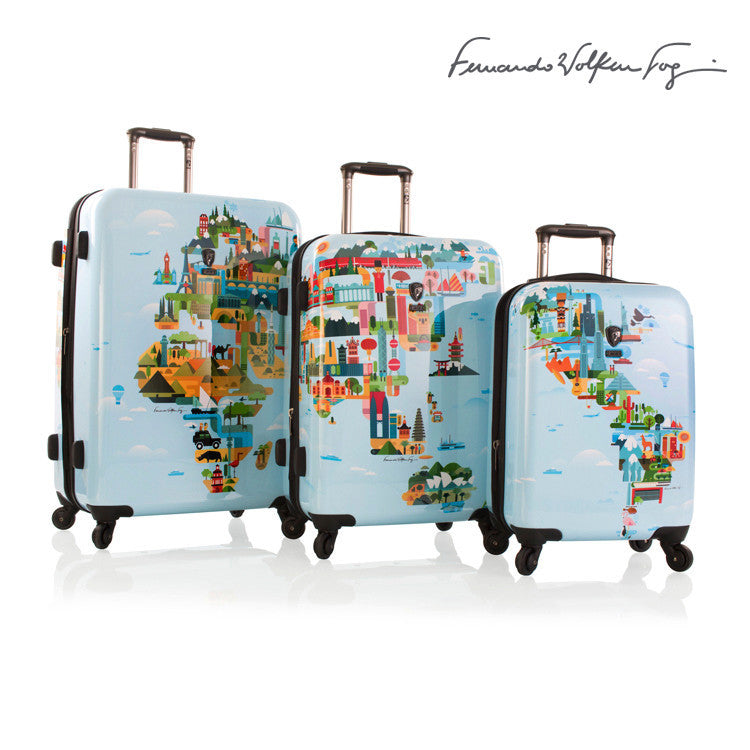 Fernando by Heys FVT 3 Piece World Map Expandable Spinner Set