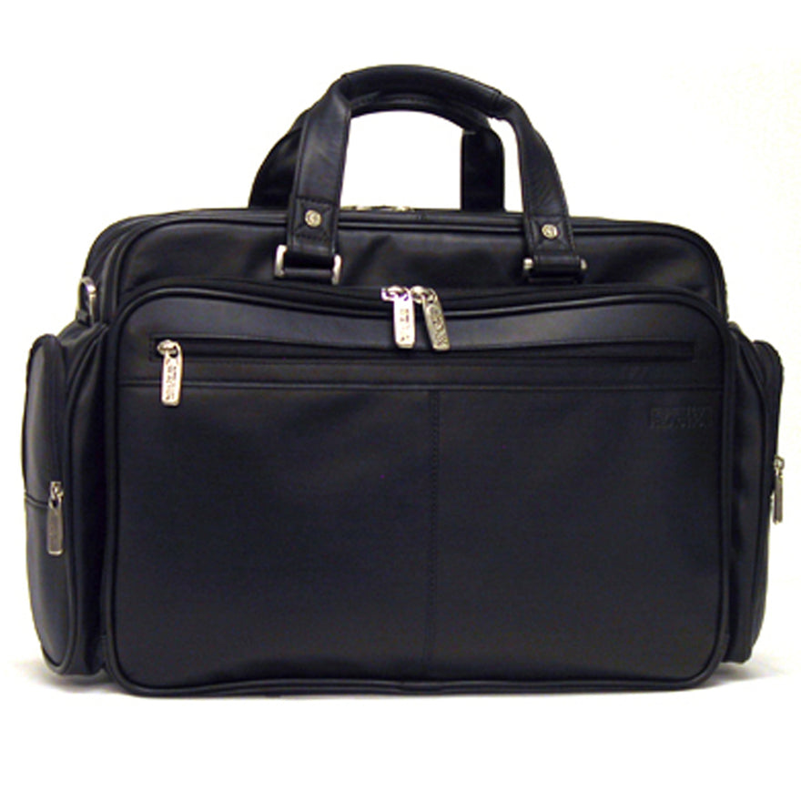 "Kenneth Cole Reaction ""Long Story Port"" Double Gusset Expandable Top Zip Portfolio / Computer Case"