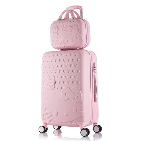 Hello Kitty Luggage bag,Children Women Suitcase set,ABS Cartoon Travel Box,Rolling Trolley Hardcase