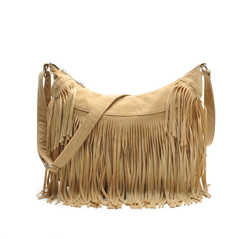 Hot Sale Vintage  Tassel  Bags  Faux Suede Women Messenger Bag Solid  Crossbody Half Moon Handbag