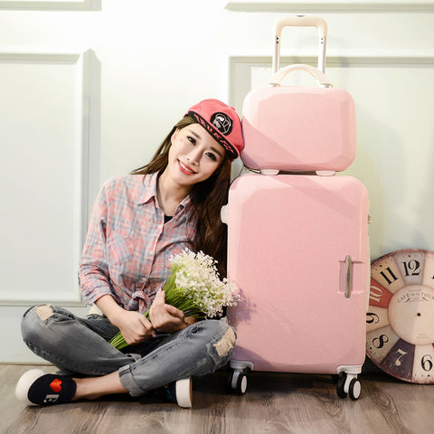"2Pcs/Set Lovely Business 20""24 Inches Trolley Case Abs+Pc Students Travel Luggage Ms Rolling"