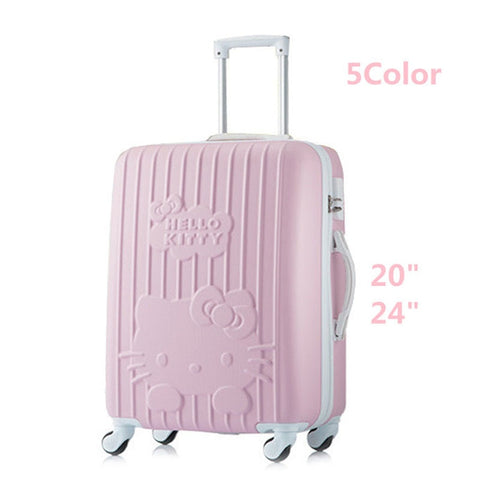 24 Inch Women Luggage Travel Bags Trolley,Abs Trolley Case,Girl Hello Kitty Travel Suitcase,