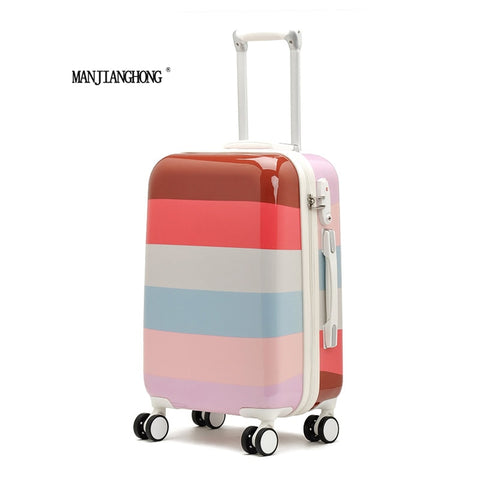 2016 Hot Sales Colorful Stripes Cute Trolley Caster Suitcase/Travel Luggage Board Chassis Lockbox