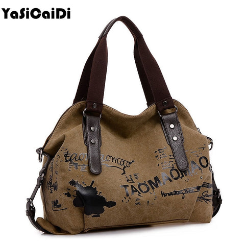 Vintage Graffiti Women'S Bag Canvas Handbag Female Famous Designer Shoulder Bag Ladies Tote Fashion