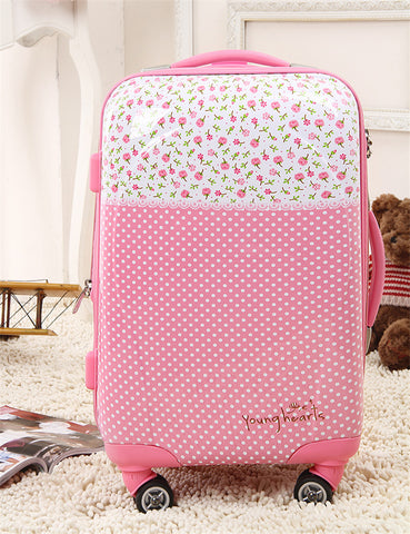 Polka Dot20 24 Trolley Luggage Pink Universal Wheels Female 28 Travel Bag Luggage Lock,Abs Pink