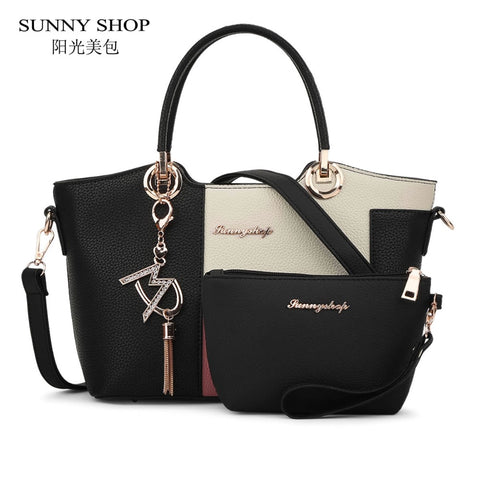 Sunny Shop 2 Bags/Set American Fashion Women Shoulder Bags With Purse Fashion Handbag High