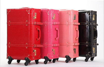 Vintage Travel Bag Trolley Luggage Universal Wheels Female Red Leather Case Married The Box