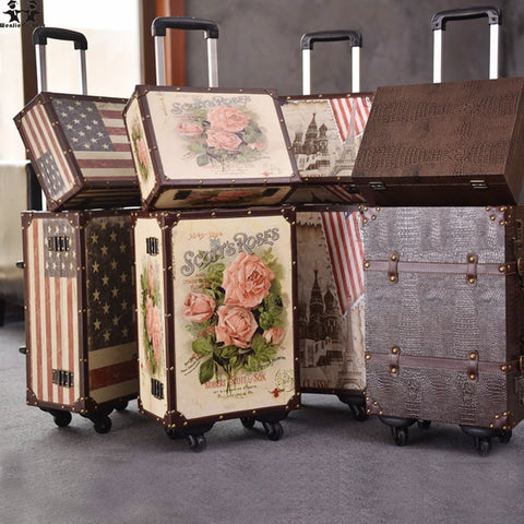 Wenjie Brother 2Pcs/Set 14Inch Cosmetic Bag Plus 20Inches Resto Pu Leather Roses Couple Trolley
