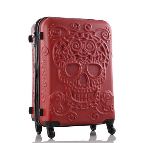 Letrend New Fashion 28Inch Britain 3D Skull Print Rolling Luggage Women Trolley 19 Inch Boarding