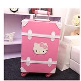 Women Vintage Trolley Luggage Travel Bag Hello Kitty Luggage Universal Wheels Luggage Sets Travel