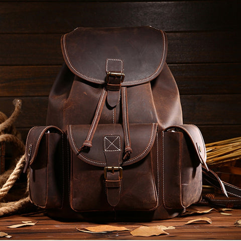 Top Quality Crazy Horse Cowhide First Layer Knapsack Male Computer Bag School Bags Vintage