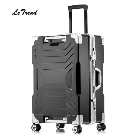 Letrend New 24 29 Inch Aluminium Frame Rolling Luggage Trolley Travel Bag 20Inch Women Men Boarding