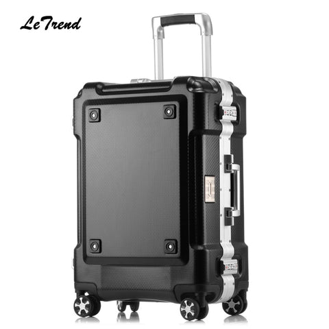Letrend New 24 29 Inch Rolling Luggage Aluminium Frame Trolley Solid Travel Bag 20' Women