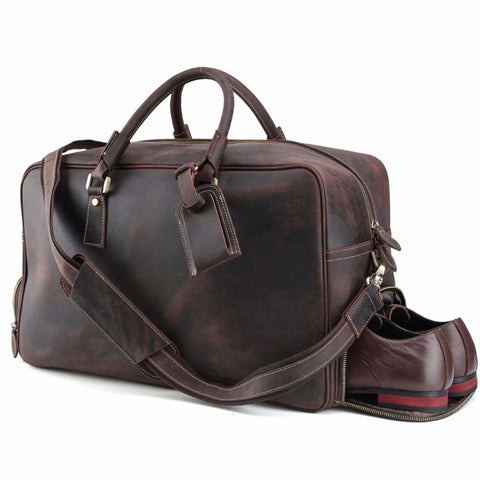 Tiding Cowhide Travel Bag Weekender Carry On Luggage With Shoe Pouch Overnight Duffel Bag 1175