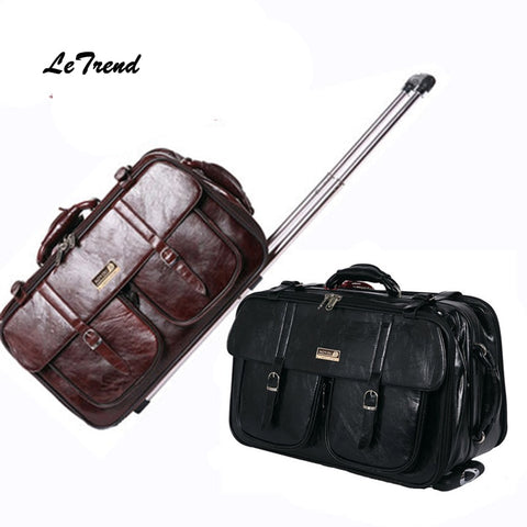 Letrend New Men Business Travel Bag Multi-Function Suitcase Leather Carry On Women Rolling
