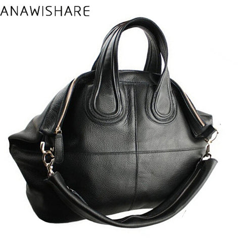 Anawishare Women Bag Genuine Leather Handbags Large Cowhide Shoulder Bags Black Crossbody Messenger