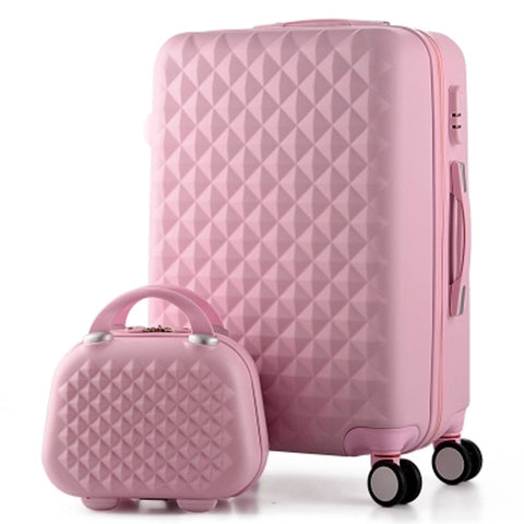 14+20 Inch,Woman Travel Case Suitcases,Diamond Luggage Travel Bag,Abs Travel Luggage,Rolling