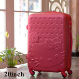 20Inch Travel Suitcase,Spinner 4 Wheel,Pink Hello Kitty,Abs Luggage Bags,Rolling Luggage,Women