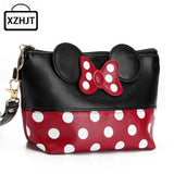 Travel Cosmetic Bag Cartoon Bow Makeup Case Women Zipper Hand Holding Make Up Handbag Organizer