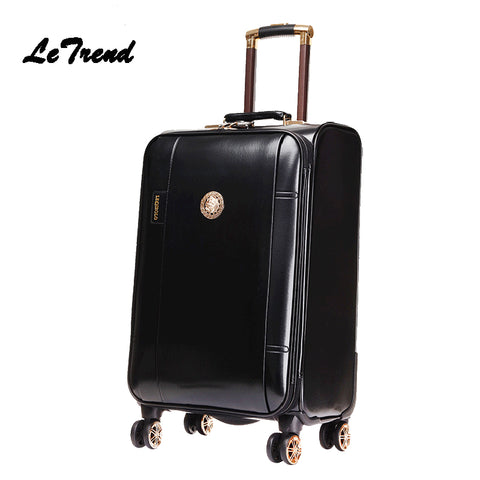 Letrend Business Leather Rolling Luggage Spinner Wheels Suitcases Men Trolley Pu Korean Trunk Cabin