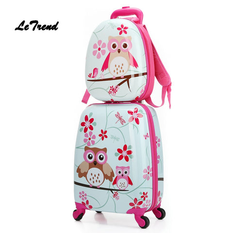 Letrend  Cartoon Cute Animal Kids Rolling Luggage Set Spinner Children Suitcases Wheel Trolley
