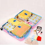 6Pcs/Set Floral Print Travel Storage Bag Luggage Arrange Bag Comestic Makeup Storage Case Washing
