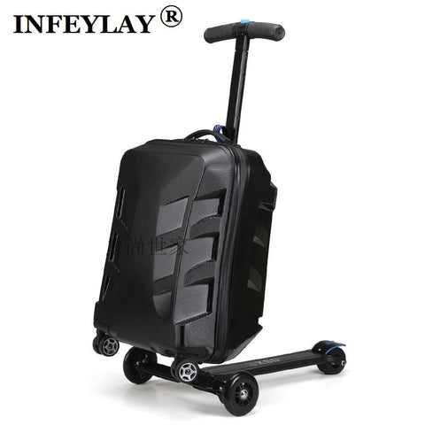 High Quality 21 Inches Boy Scooter Suitcase Trolley Case  3D Extrusion Business Travel Cool Luggage