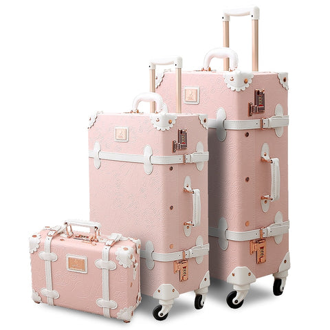 3Pcs/Set Spinner Wheels Vintage Pink Pu Leather Embossed Suitcase Women Trunk Vintage Luggages