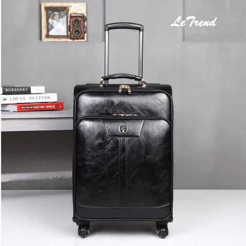 Letrend New Fashion Luxury Man Women 20 Inch Rolling Luggage Business Trolley Pu Leather Trunk