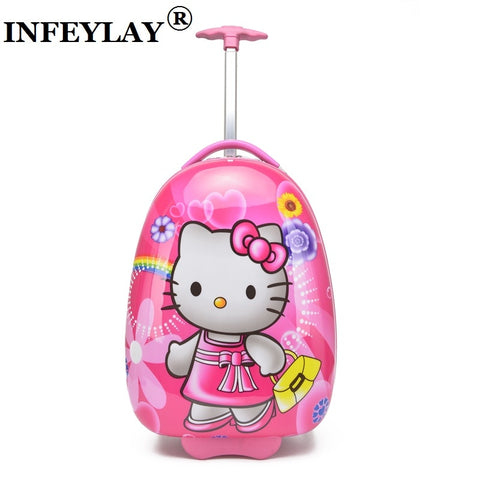 Hot! 2016 Kids Anime Luggage Boy Girl Suitcase Variety Cartoon Travel 16 Inches Lovely Pull Rod Box