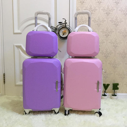 Picture Box Universal Wheels Trolley Luggage 14 20 Child Travel Bag  Sub-Trunk  Sets,High Quality