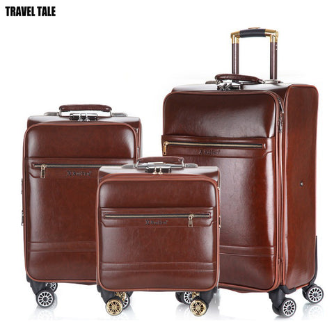 "Travel Tale 16""20""24 Inch Leather Travel Suitcase With Wheels Trolley Retro Rolling Luggage Set"