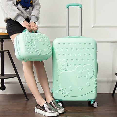 Wholesale! 14 20 Inches Pink Green Fashion Luggage Bags Sets, Travel Universal Wheels Trolley