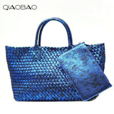 Qiaobao Wallet Gift Bag Famous Snake Knitting Quality Leather Women'S Handbag Vintage Large