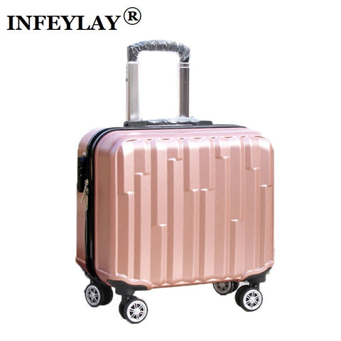 Hot 18 Inches Girl Boy Abs Pull Rod Box Students Trolley Case Child Travel Luggage Rolling Suitcase