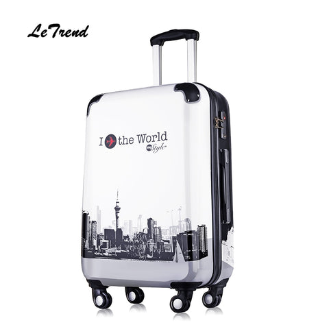 Letrend Suitcases On Wheel Rolling Luggage Spinner Trolley Travel Bag 20 Inch Cabin Luggage Women