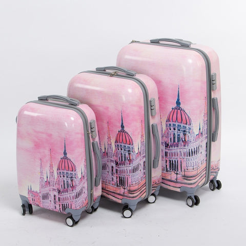 Girl Pink Pc Hardside Palace Trolley Luggage Set,20 24 28Inches(3 Pieces/Set) Universal Wheel Fairy